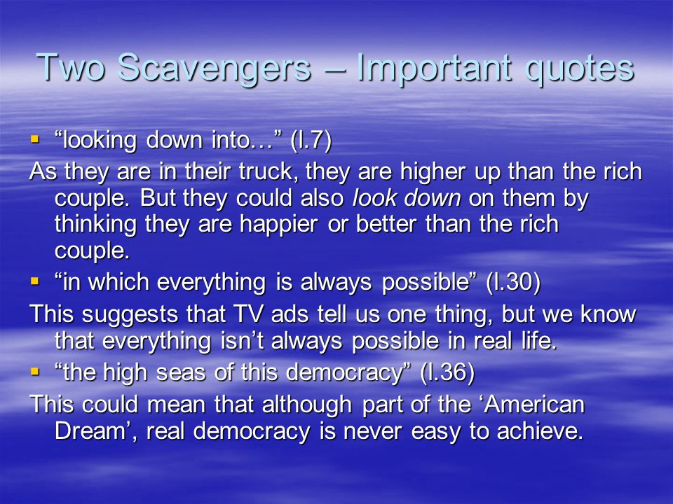 Two Scavengers – Important quotes