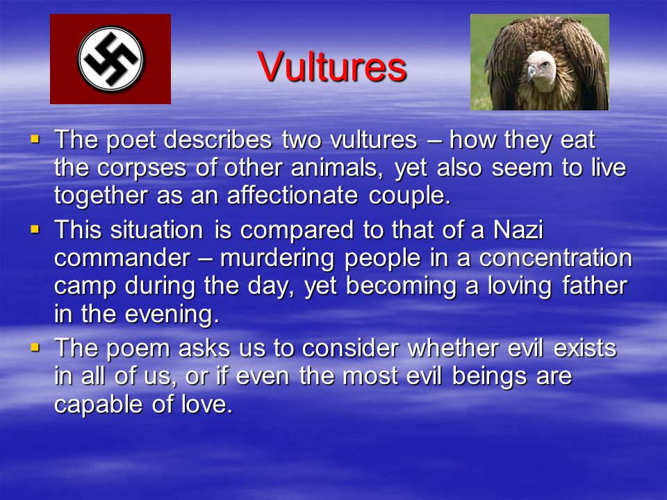 Vultures The poet describes two vultures – how they eat the corpses of other animals, yet also seem to live together as an affectionate couple.