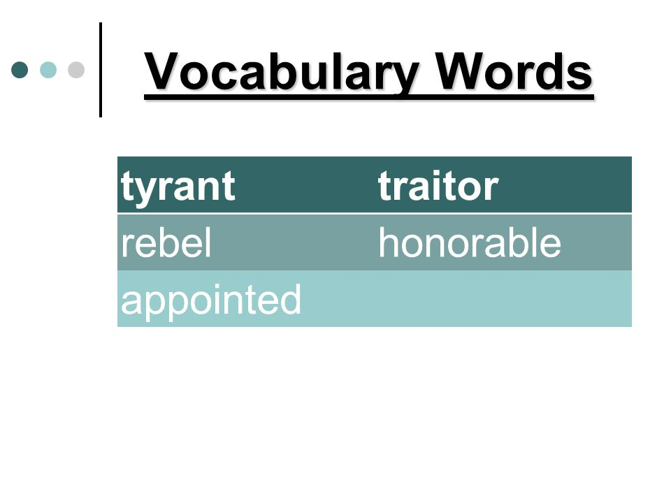 Vocabulary Words tyrant traitor rebel honorable appointed