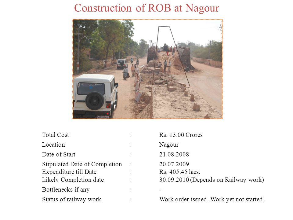 Construction of ROB at Nagour