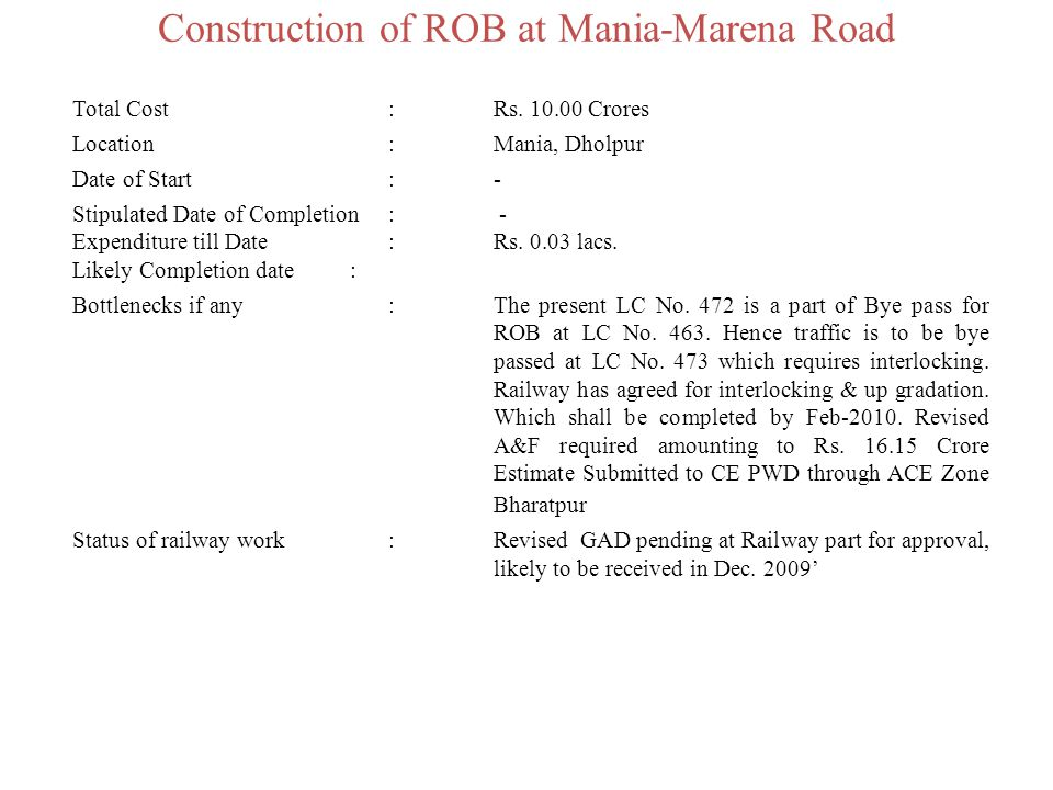 Construction of ROB at Mania-Marena Road