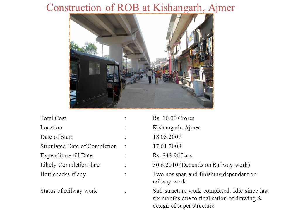 Construction of ROB at Kishangarh, Ajmer