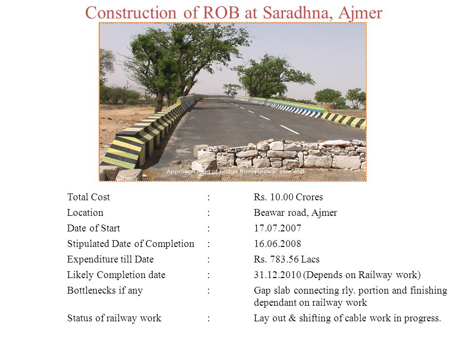 Construction of ROB at Saradhna, Ajmer