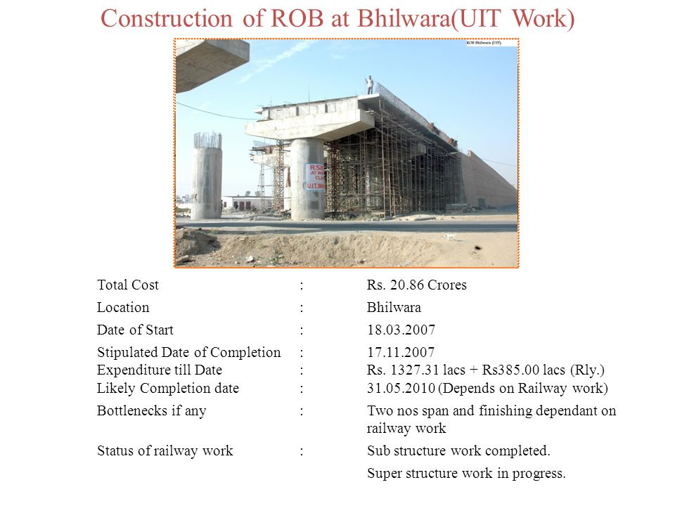 Construction of ROB at Bhilwara(UIT Work)