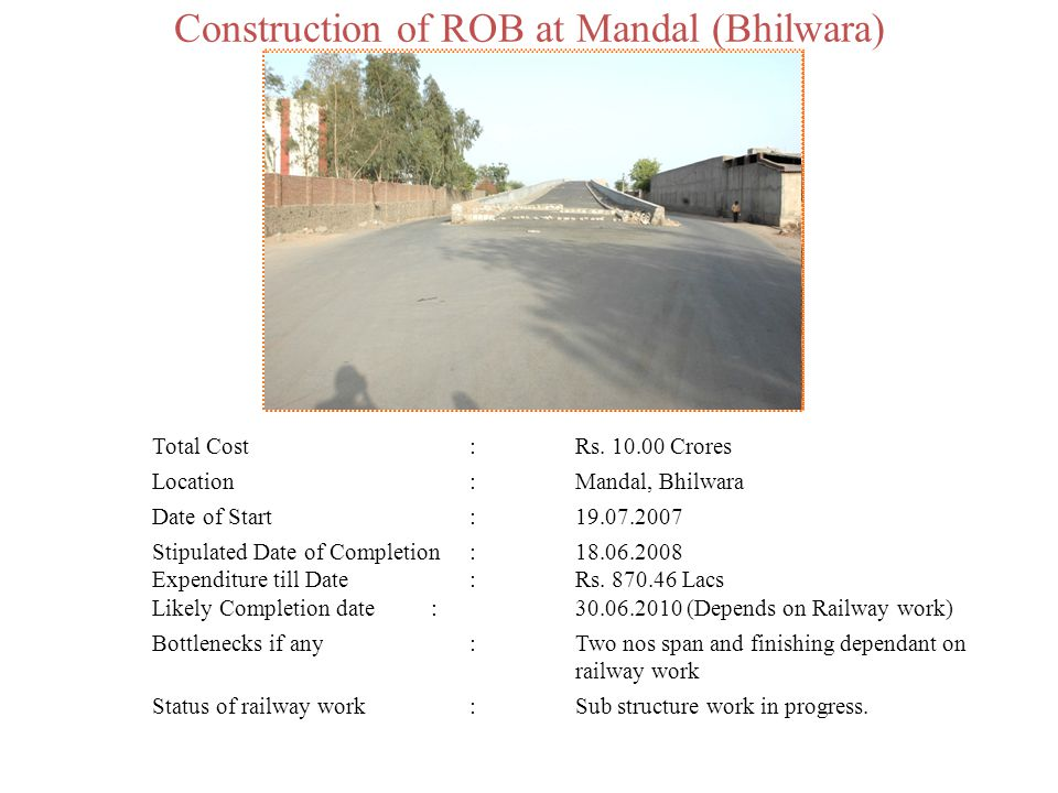 Construction of ROB at Mandal (Bhilwara)
