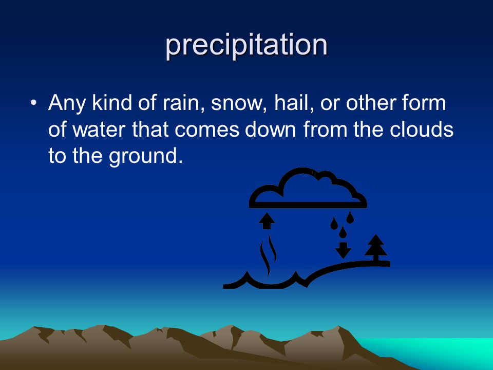 precipitation Any kind of rain, snow, hail, or other form of water that comes down from the clouds to the ground.