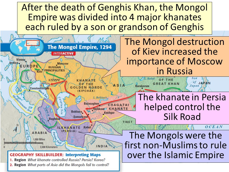 The khanate in Persia helped control the Silk Road