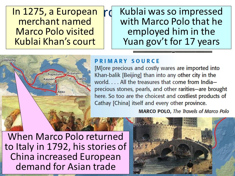 Marco Polo In 1275, a European merchant named Marco Polo visited Kublai Khan's court.