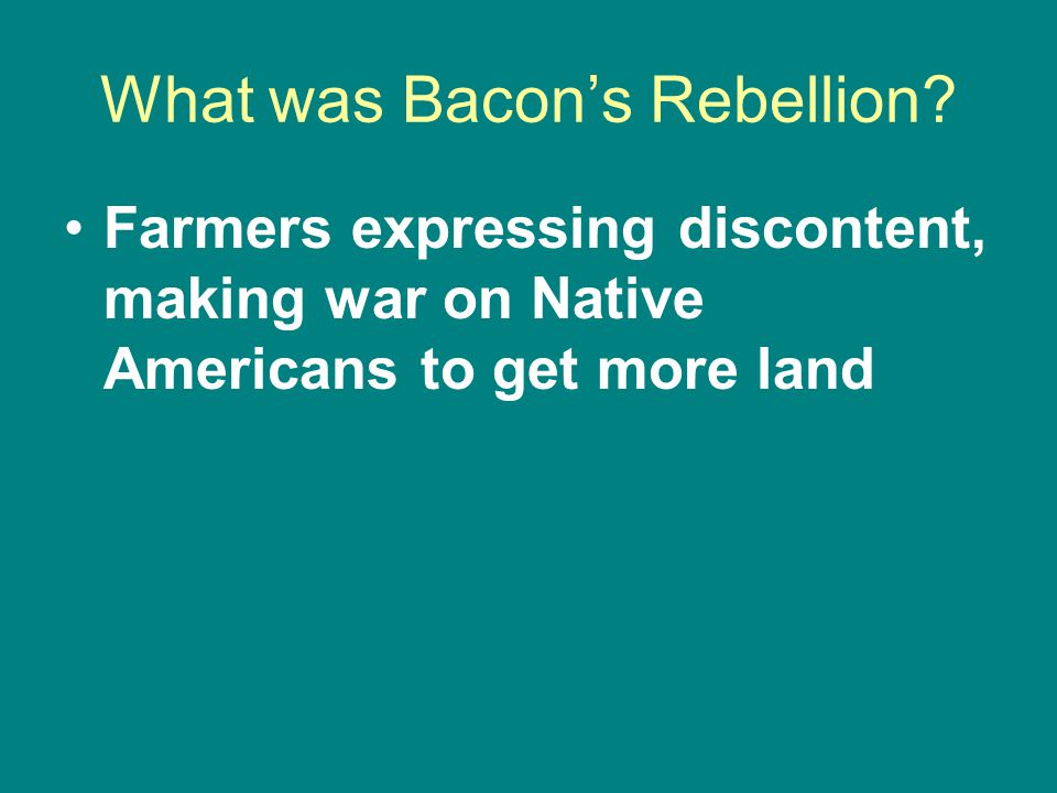 What was Bacon's Rebellion