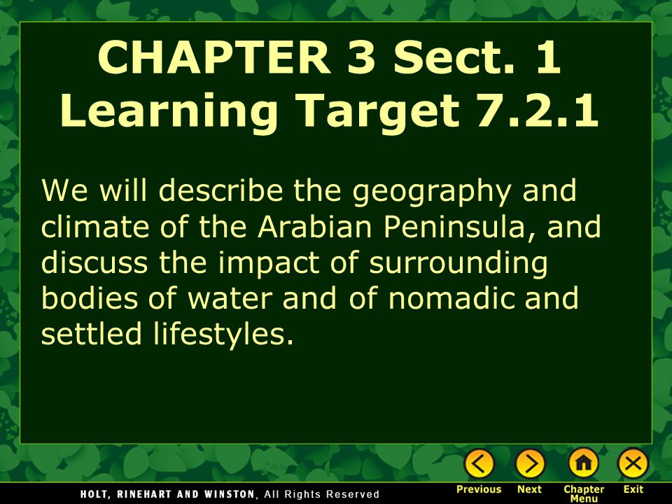 CHAPTER 3 Sect. 1 Learning Target 7.2.1