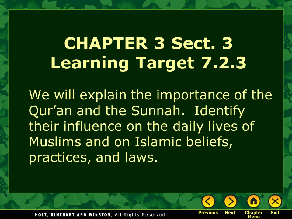 CHAPTER 3 Sect. 3 Learning Target 7.2.3