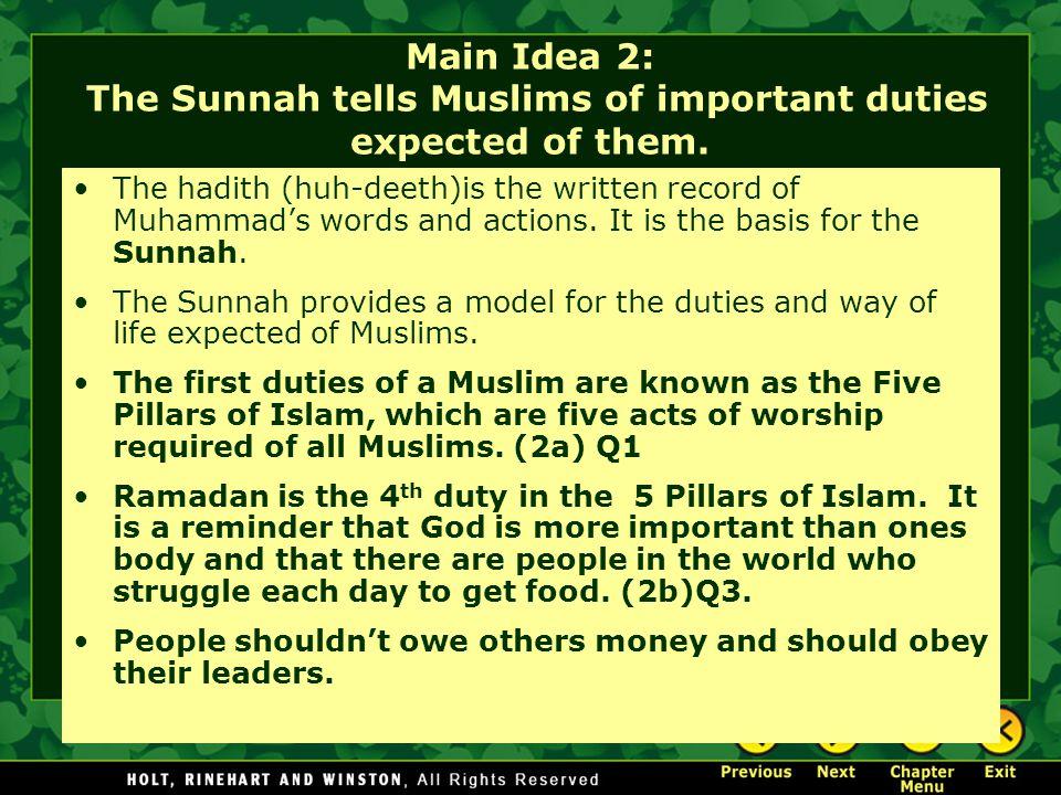 Main Idea 2: The Sunnah tells Muslims of important duties expected of them.