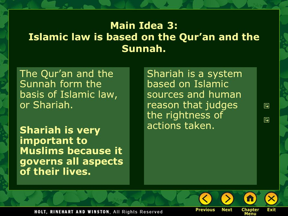 Main Idea 3: Islamic law is based on the Qur'an and the Sunnah.