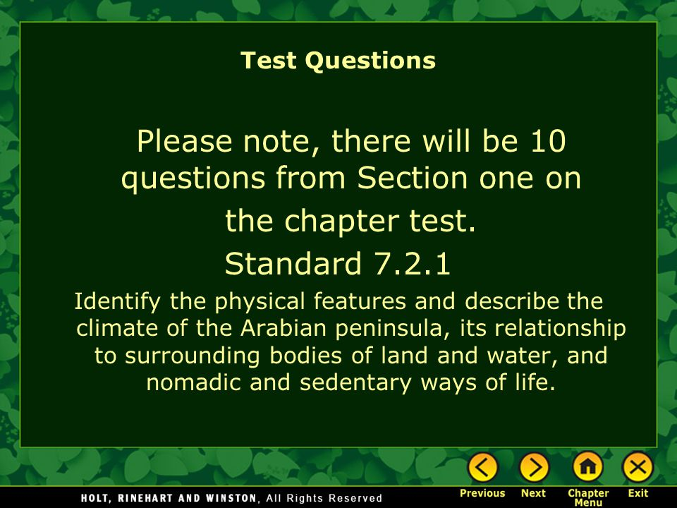 Please note, there will be 10 questions from Section one on
