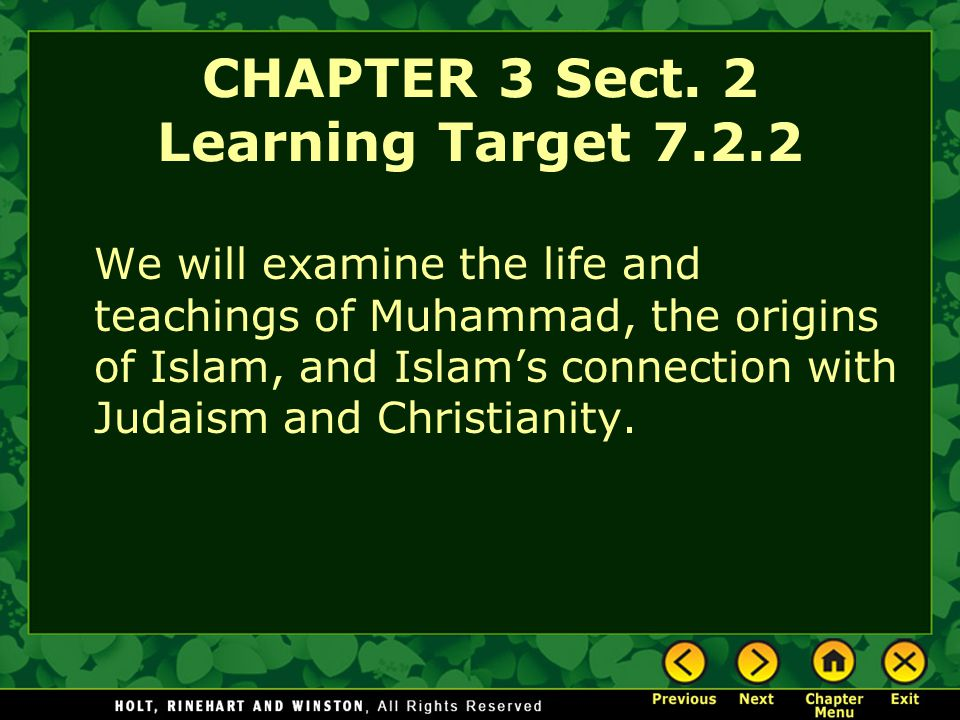 CHAPTER 3 Sect. 2 Learning Target 7.2.2