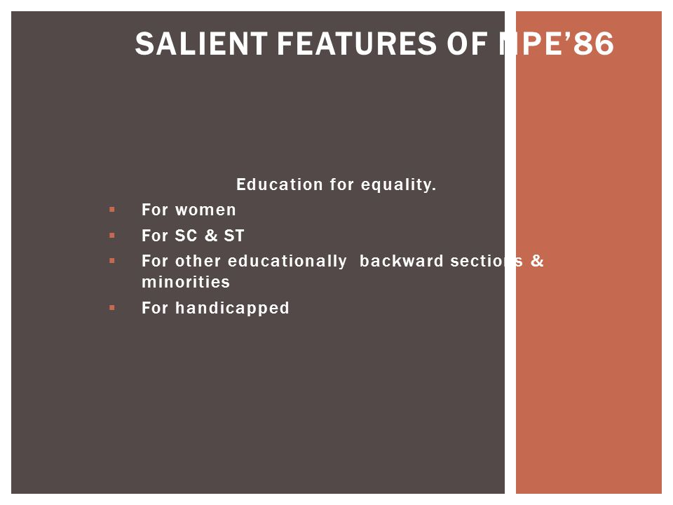 SALIENT FEATURES OF NPE'86