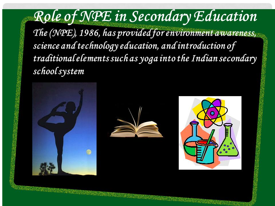 Role of NPE in Secondary Education