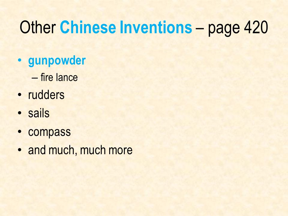 Other Chinese Inventions – page 420