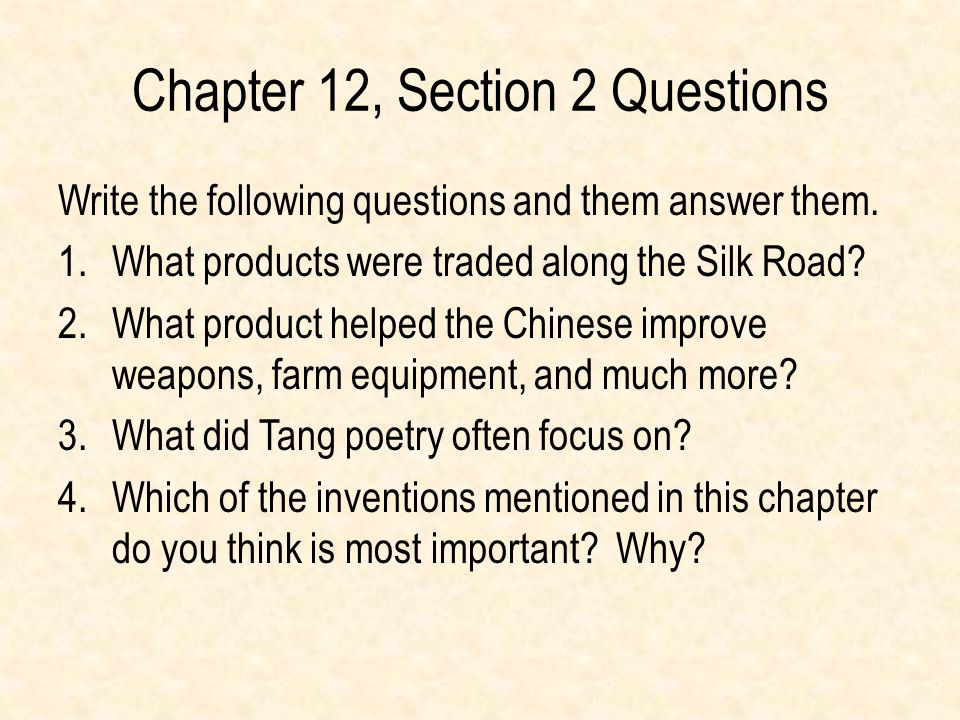 Chapter 12, Section 2 Questions