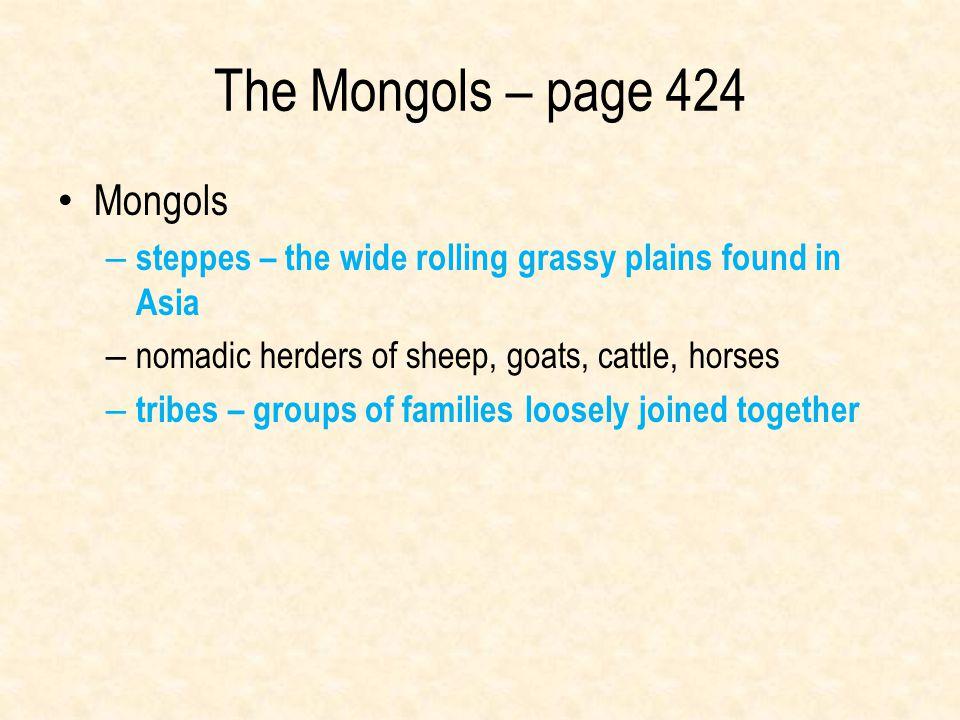 The Mongols – page 424 Mongols