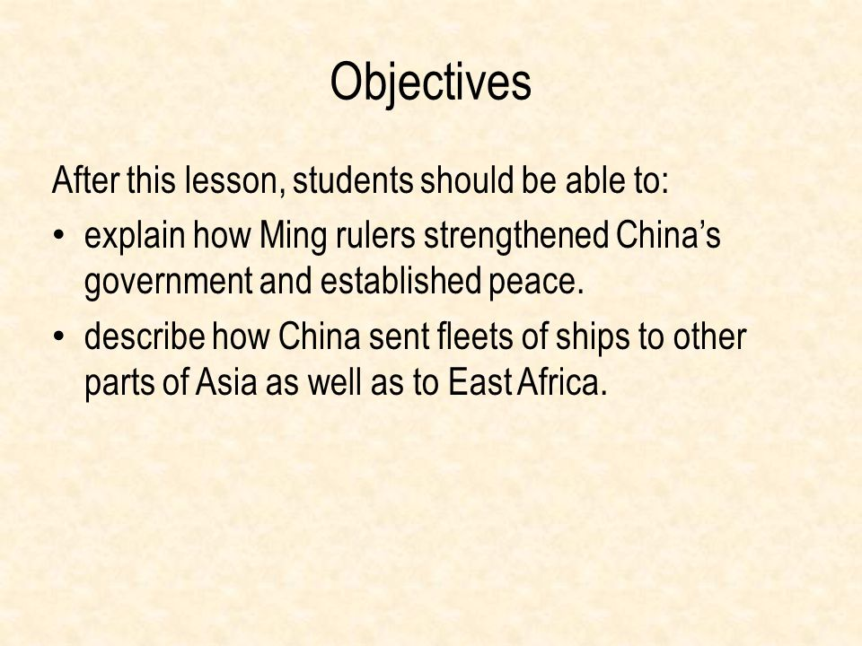 Objectives After this lesson, students should be able to:
