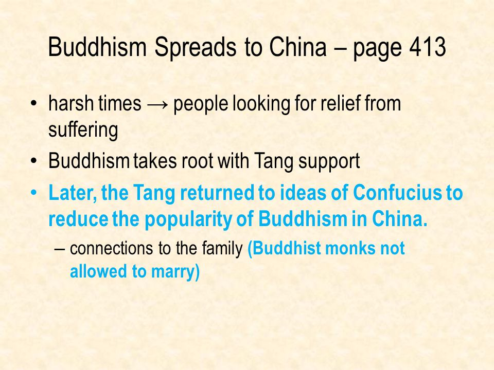 Buddhism Spreads to China – page 413