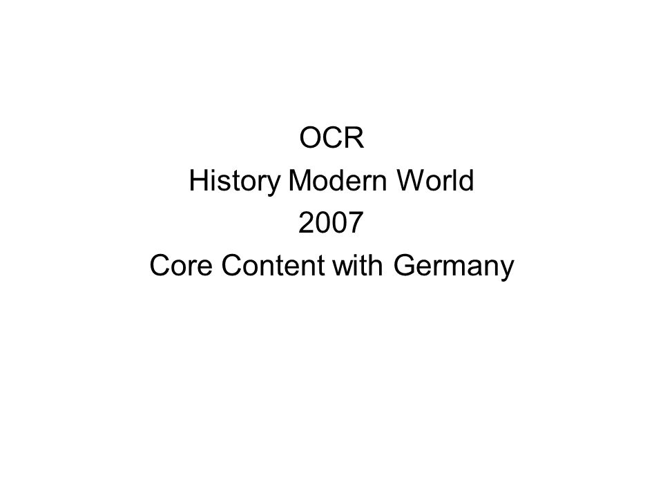 Core Content with Germany