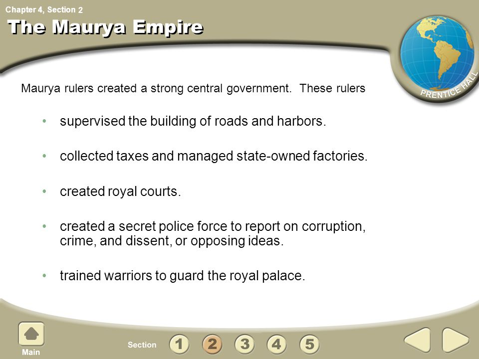 The Maurya Empire supervised the building of roads and harbors.