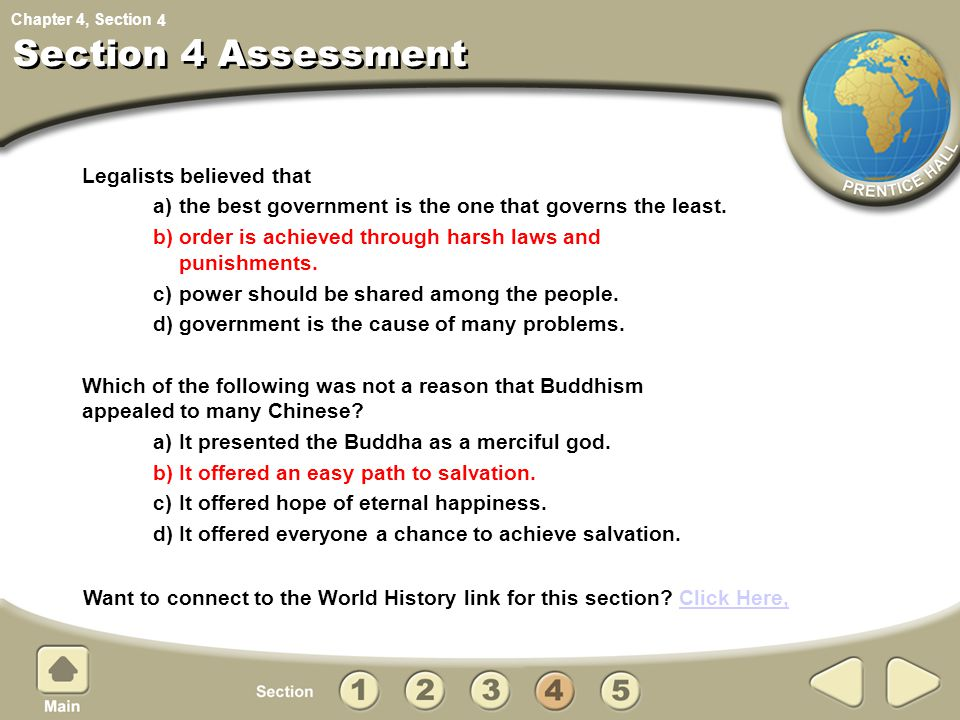 Section 4 Assessment Legalists believed that