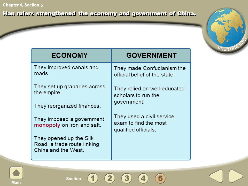 Han rulers strengthened the economy and government of China.