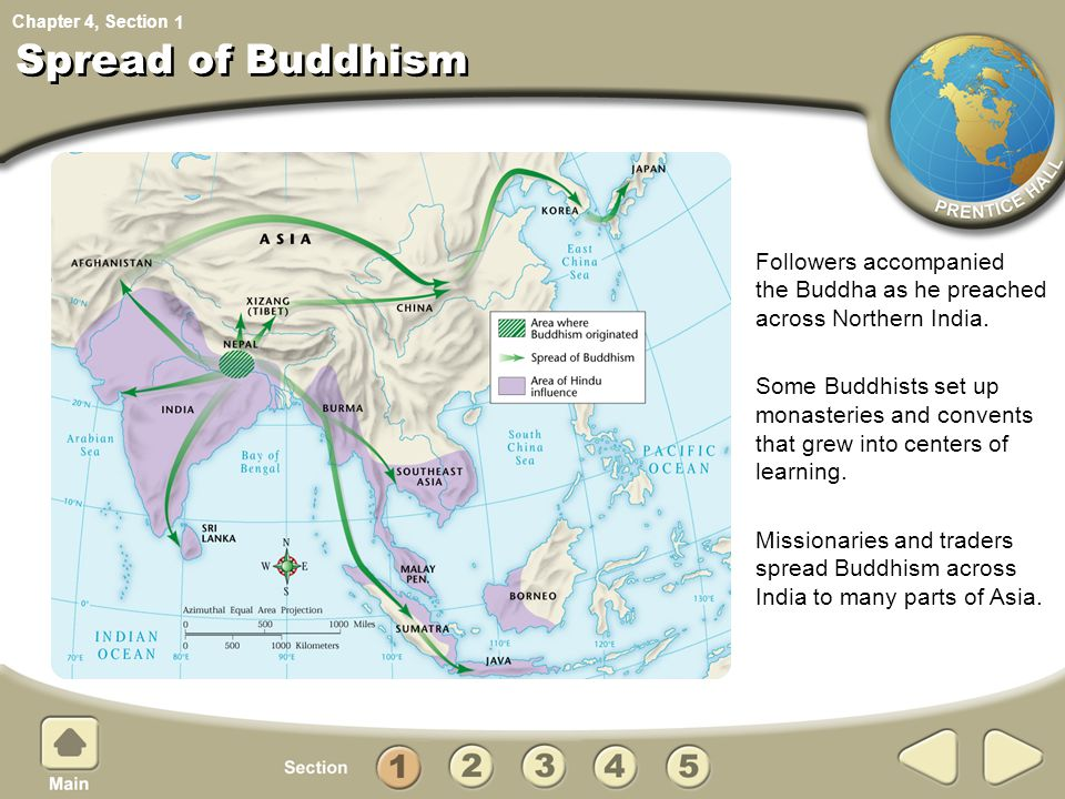 1 Spread of Buddhism. Followers accompanied the Buddha as he preached across Northern India.