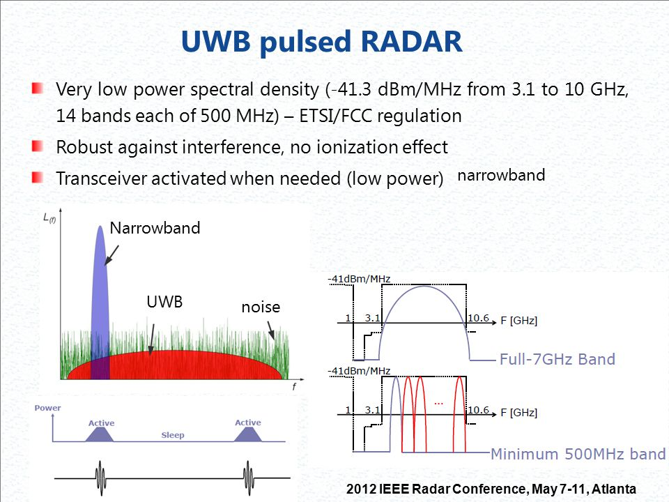 UWB pulsed RADAR Very low power spectral density (-41.3 dBm/MHz from 3.1 to 10 GHz, 14 bands each of 500 MHz) – ETSI/FCC regulation.