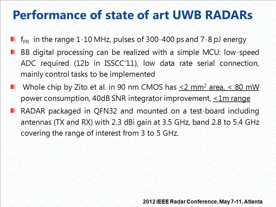 Performance of state of art UWB RADARs