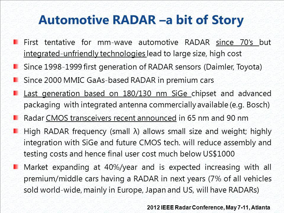 Automotive RADAR –a bit of Story