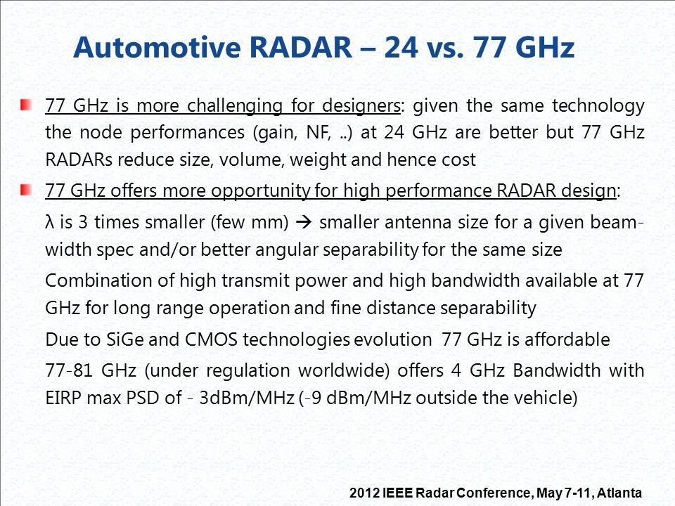 Automotive RADAR – 24 vs. 77 GHz
