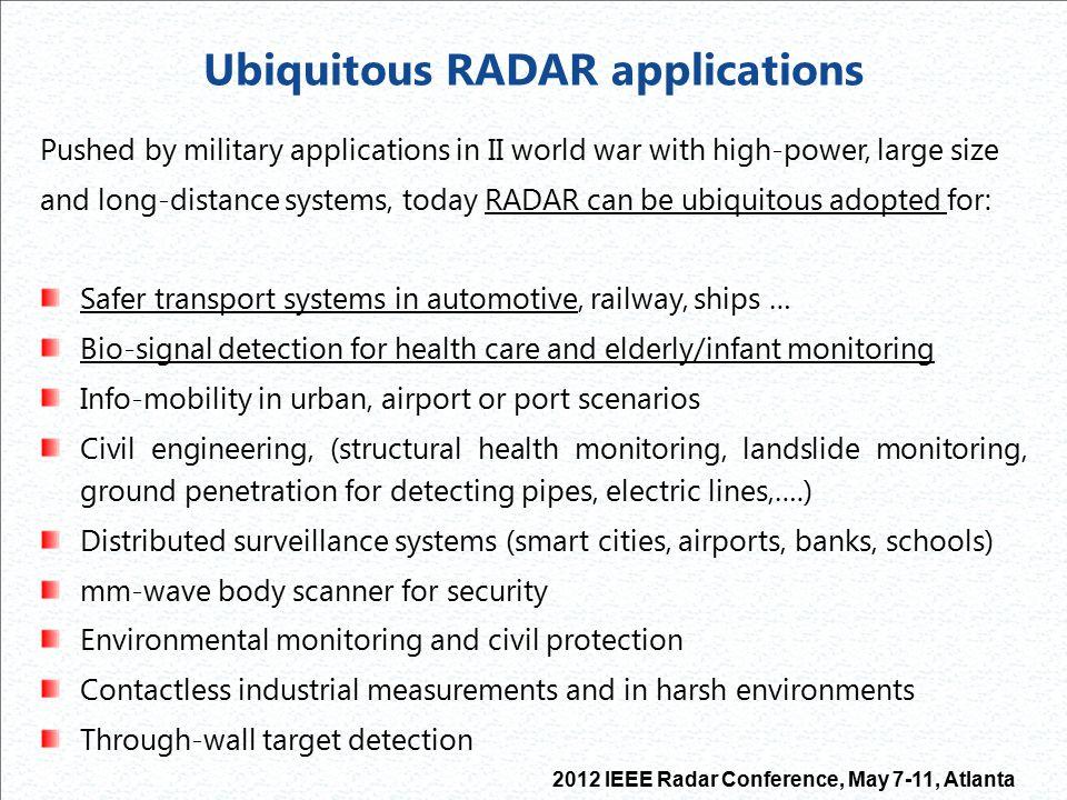 Ubiquitous RADAR applications