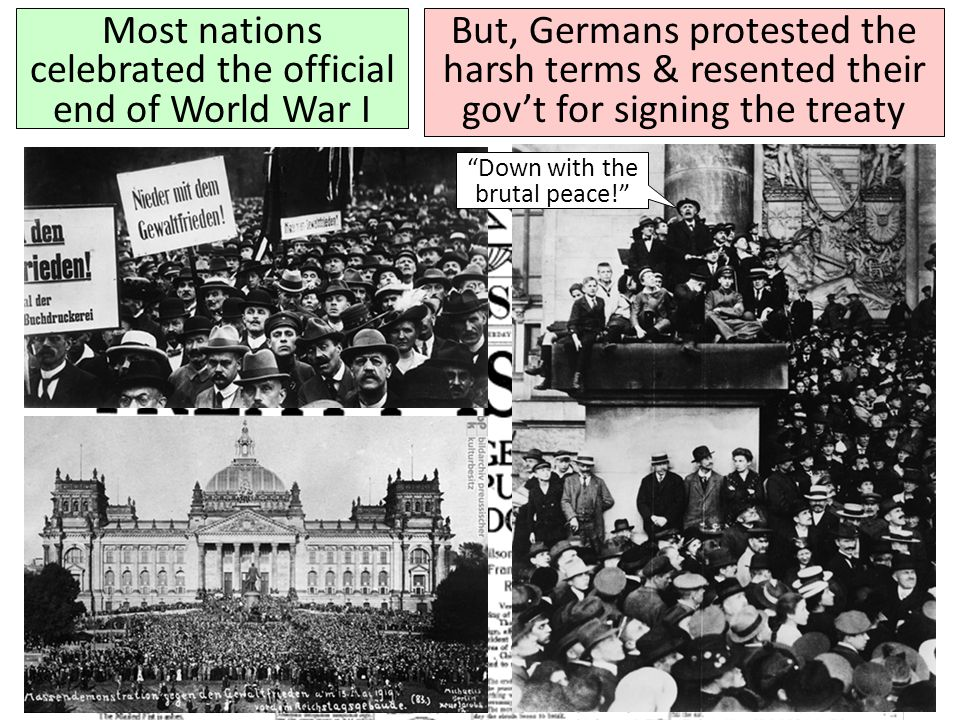 Most nations celebrated the official end of World War I