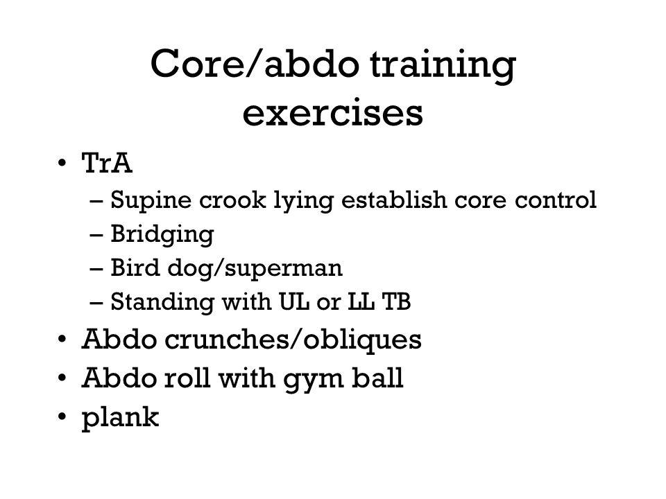 Core/abdo training exercises