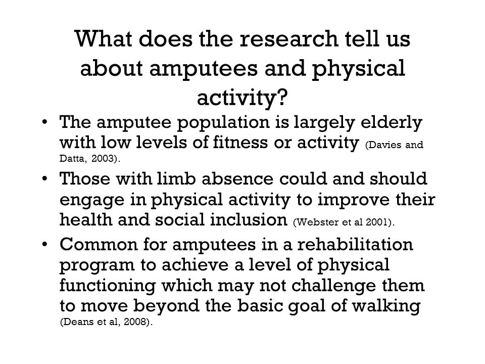 What does the research tell us about amputees and physical activity