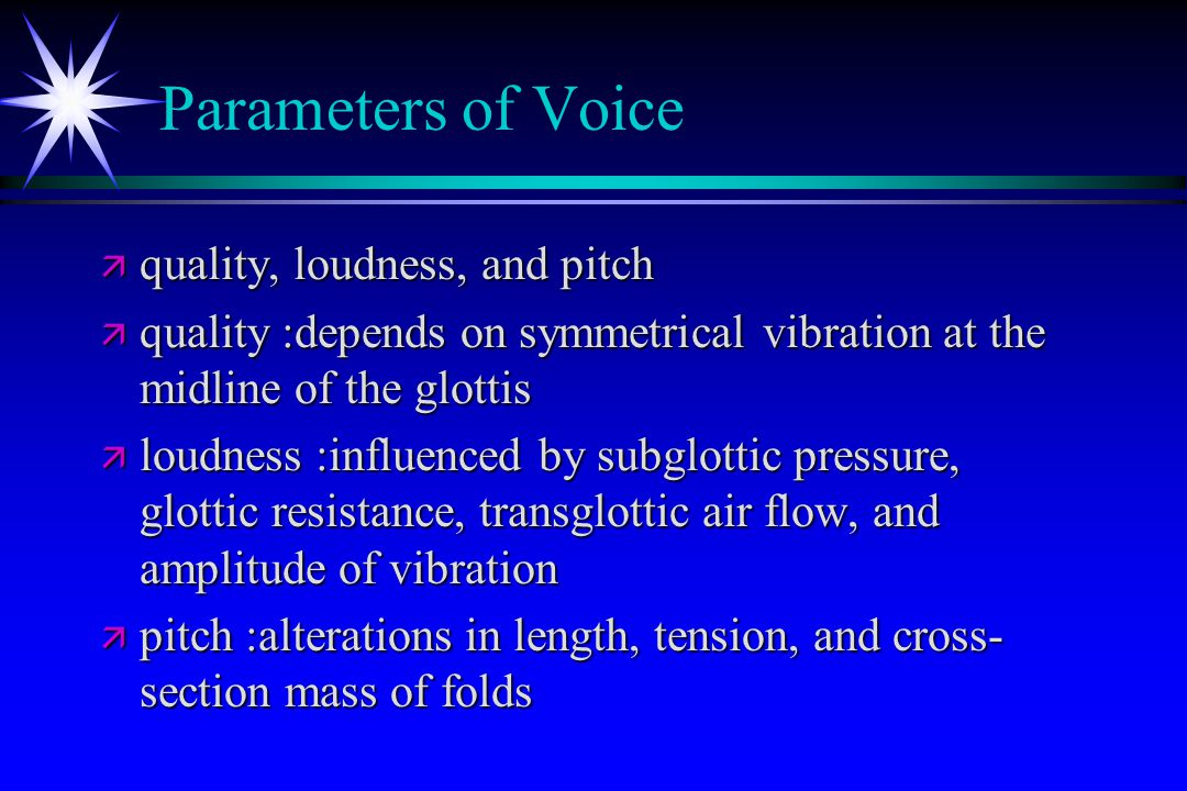 Parameters of Voice quality, loudness, and pitch