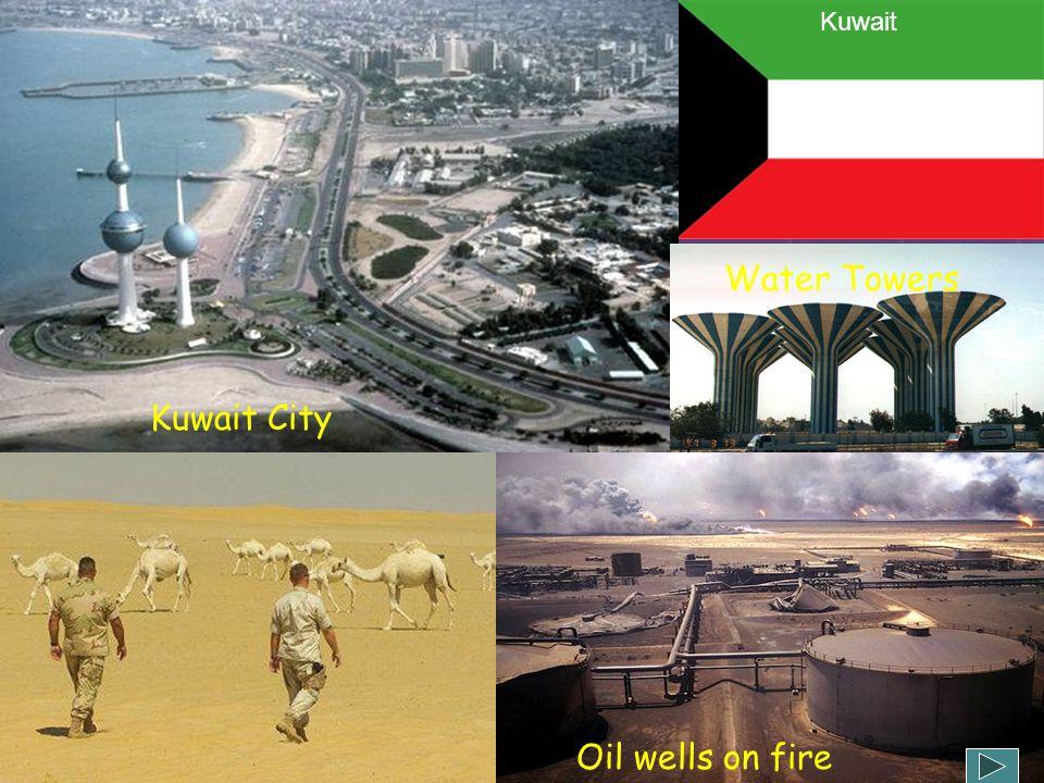 Kuwait Water Towers Kuwait City Oil wells on fire