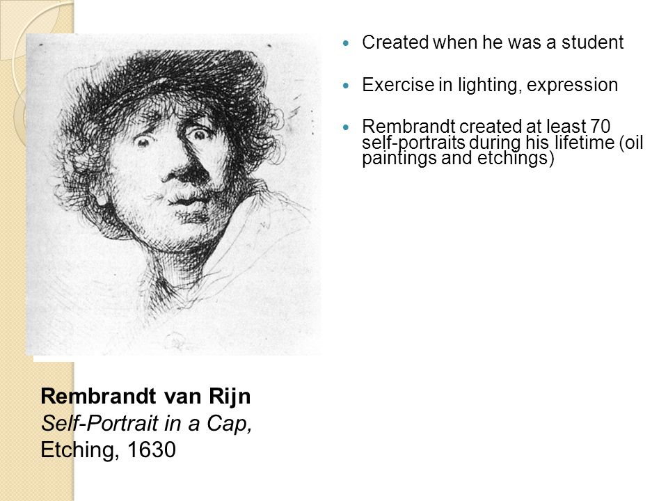 Rembrandt van Rijn Self-Portrait in a Cap, Etching, 1630