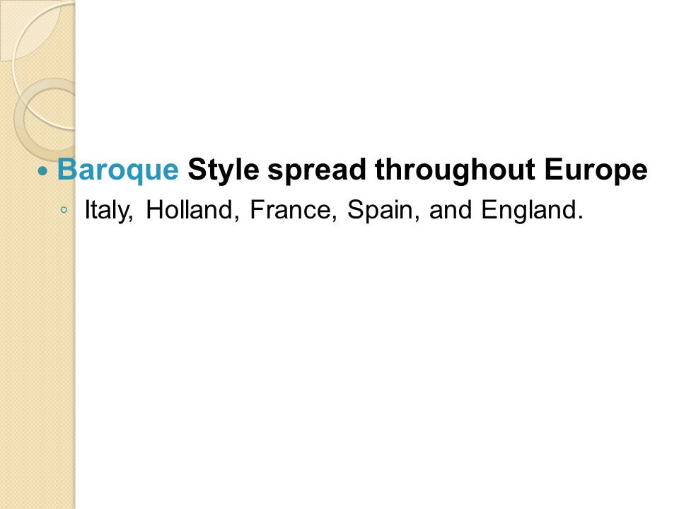 Baroque Style spread throughout Europe