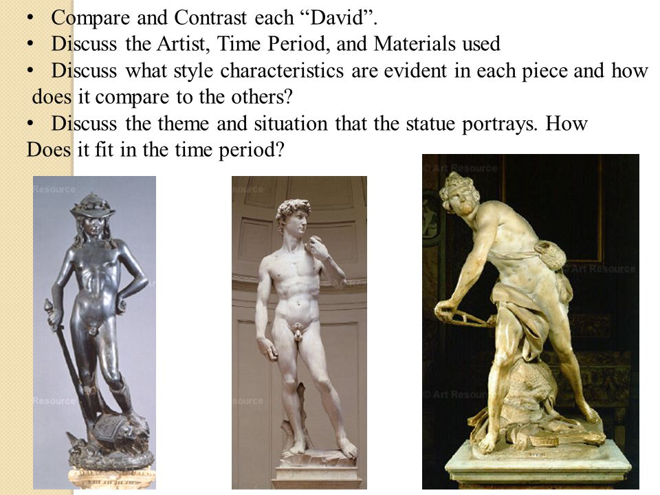 Compare and Contrast each David .