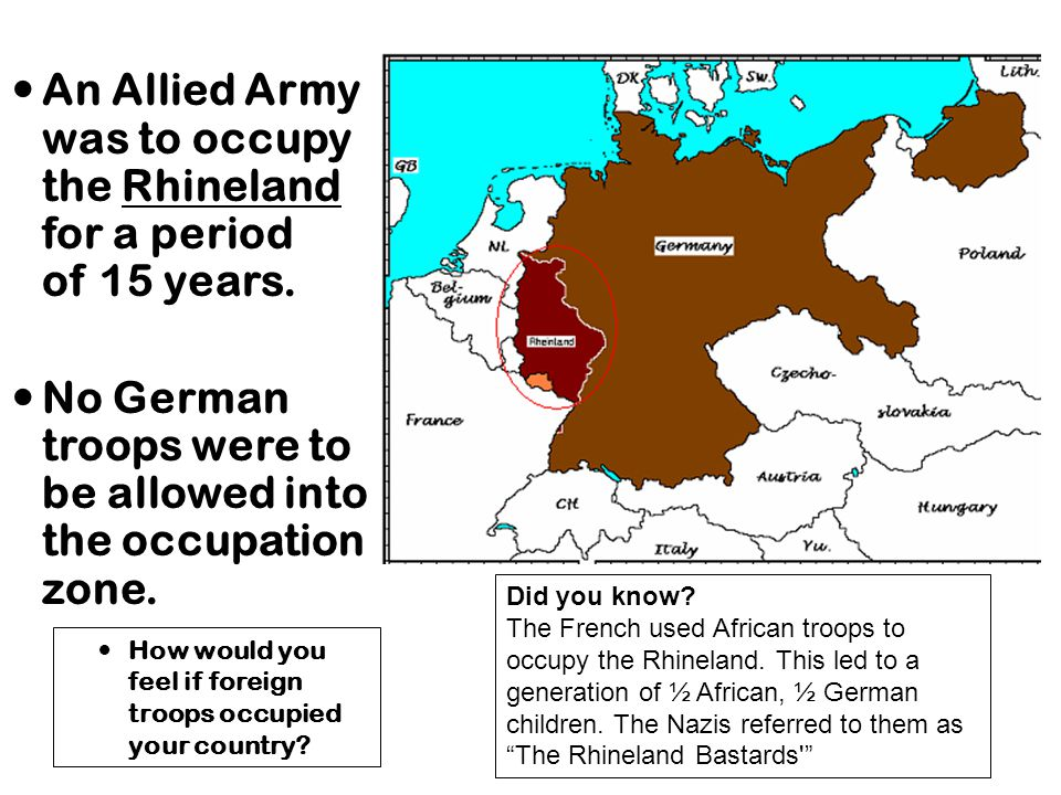 An Allied Army was to occupy the Rhineland for a period of 15 years.