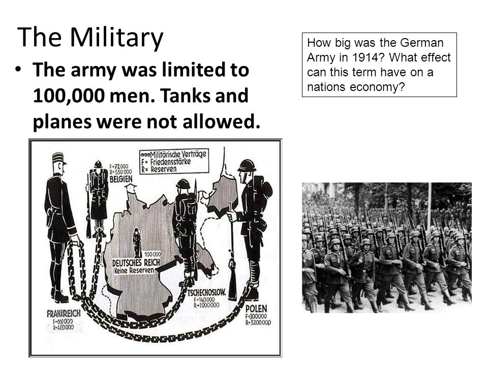 The Military How big was the German Army in 1914 What effect can this term have on a nations economy