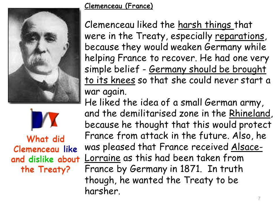 What did Clemenceau like and dislike about the Treaty