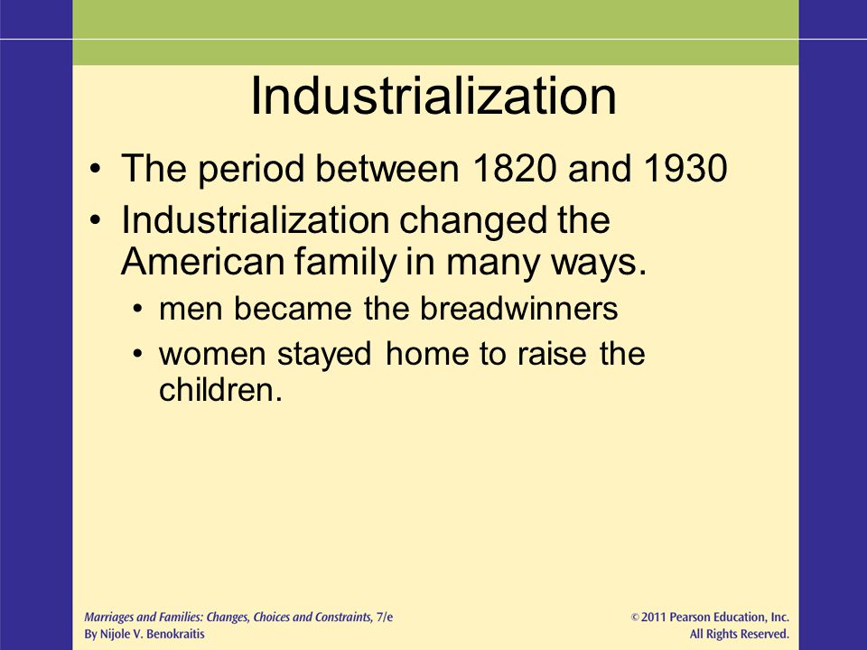 Industrialization The period between 1820 and 1930