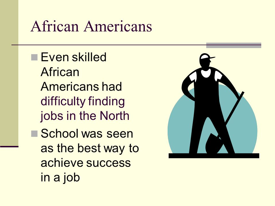 African Americans Even skilled African Americans had difficulty finding jobs in the North.