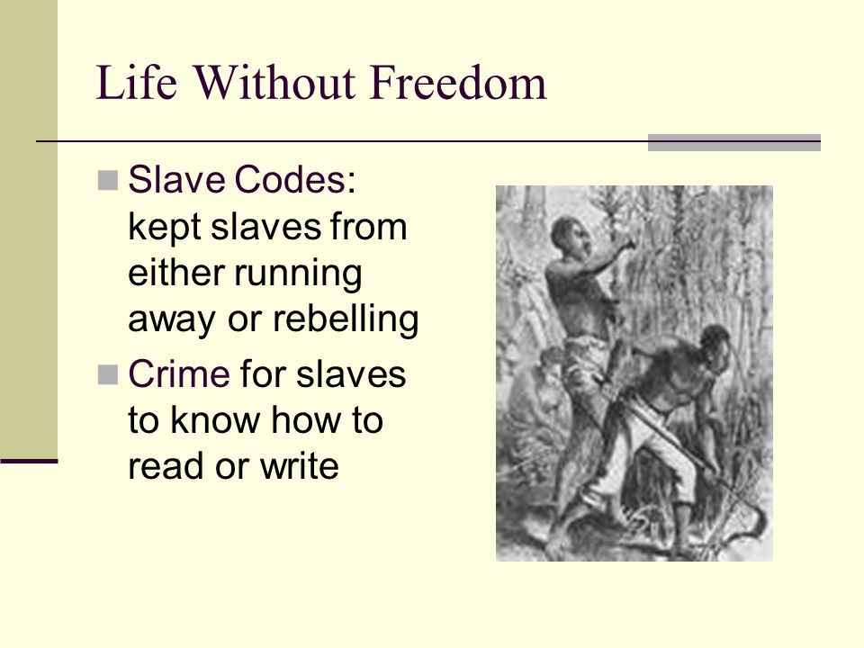 Life Without Freedom Slave Codes: kept slaves from either running away or rebelling.